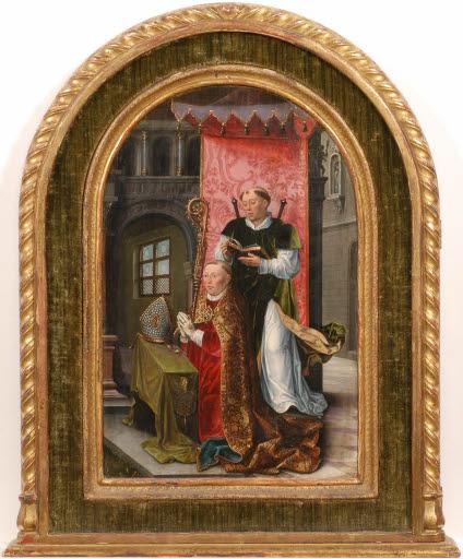 Der heilige Quentin und ein kniender Bischof als Stifter, verso: Johannes der Täufer