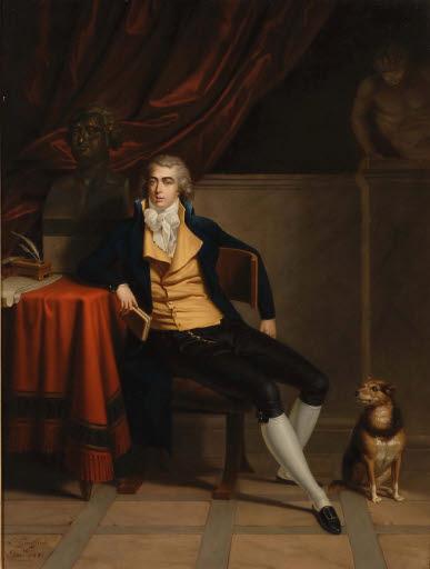 Porträt von Henry Richard Vassall-Fox, 3rd Lord Holland (1773 - 1840), mit kleinem Hund