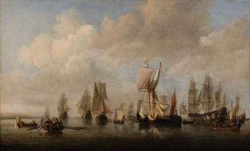 Aufbruch der holländischen Schiffsflotte auf der Maas
