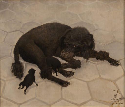 May, ou la chienne noire allaitant (May, oder die schwarze Hündin, ihre Welpen säugend)
