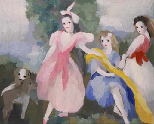 Trois jeunes filles aux petits chiens (Drei junge Mädchen mit kleinen Hunden)