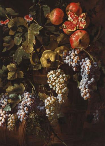 Stilleben mit Trauben, Quitten und Granatäpfeln