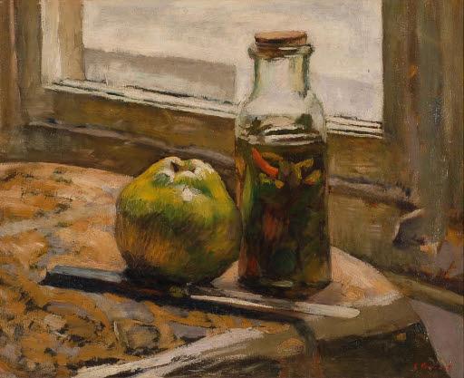 Gurkenglas und Apfel