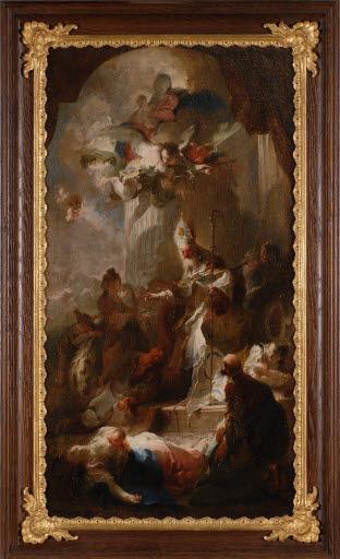 Heiliger Bischof segnet eine tote Frau und ihr Kind (Bozzetto für ein Altarbild)