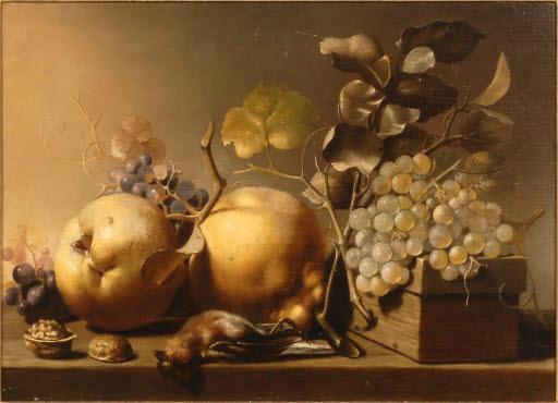 Stilleben mit Früchten und totem Vogel
