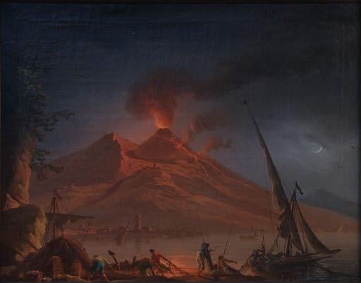 Ausbruch des Vesuv bei Nacht