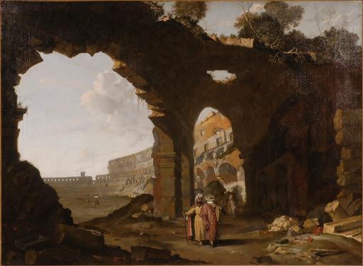 Italienisches Capriccio mit Ruinen und orientalischen Figuren