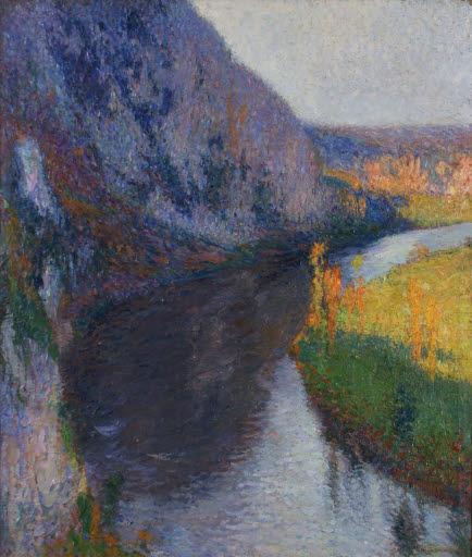 La Vallée du Lot à l'aplomb de Saint-Cirq-Lapopie (Klippe im Flusstal des Lot bei Saint-Cirq-la-Popie)