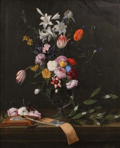 Stilleben mit Blumenvase und Vergolderwerkzeug