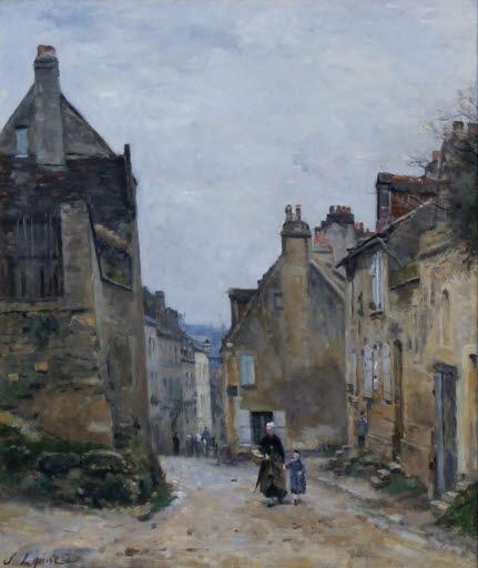 Die Rue du Mont-Cenis auf dem Montmartre bei Regen