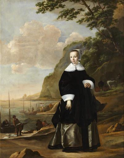 Bildnis einer jungen Frau vor südlicher Landschaft
