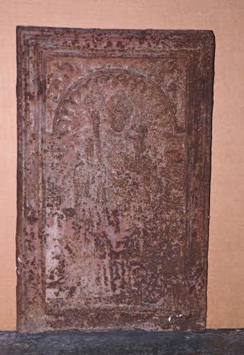 Ofenplatte mit heiligem Christophorus