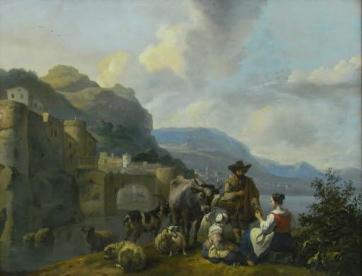 Italianisierende Landschaft mit Hirte und Bauernmädchen