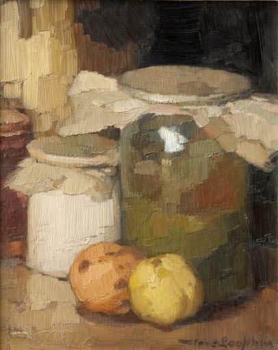 Stilleben mit Einmachgläsern und Früchten