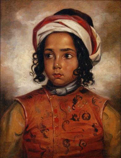 Porträt eines Jungen mit Turban und gestickter Tunika
