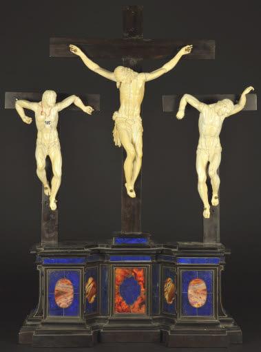 Christus am Kreuz mit den zwei Schächern