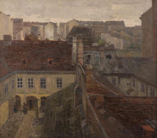 Blick aus dem Atelier des Künstlers auf Gaudendorf bei Wien