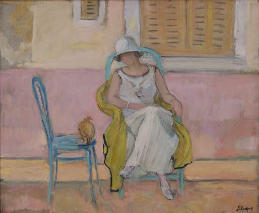 Jeune femme en robe blanche (Nono) (Frau in weißem Kleid)