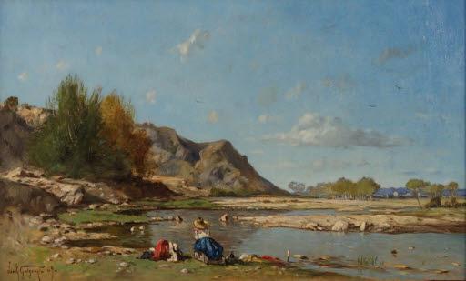 Lavandières au bord de la Durance à Saint Paul (Wäscherinnen am Ufer der Durance bei Saint-Paul)