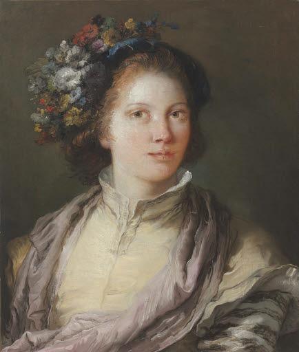 Allegorisches Porträt einer jungen Frau als Flora