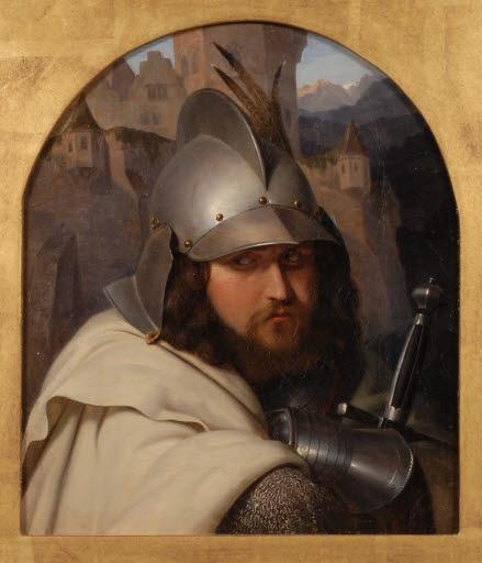Ritter vor einer Landschaft mit mittelalterlicher Burg