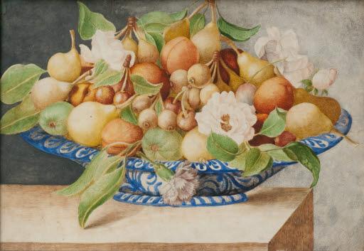 Stilleben mit Früchten und Blumen in einer Schale