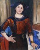 Porträt Charlotte Corinth (1880 - 1967) in brauner Bluse