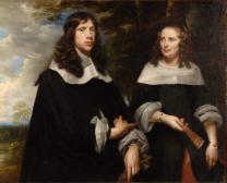 Porträt eines Paares vor Landschaftsgrund