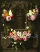 Madonna mit Kind in einer Kartusche mit Blumengirlande