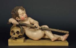 Das schlafende Jesuskind mit Schädel, Kreuz und Schlange