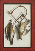 Drei tote Drosseln mit Fallen und Schlingen (Trompe-l'oeil)