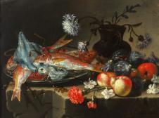 Stilleben mit Fischen, Früchten und Blumen