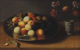 Stilleben mit Pfirsichen, Birnen, Nüssen und Nelken