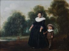 Porträt einer Frau mit Kind vor Landschaftsgrund