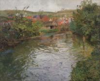 Bauernhaus an einem Fluss