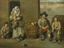Straßenszene mit einem Geflügelverkäufer und seiner Familie