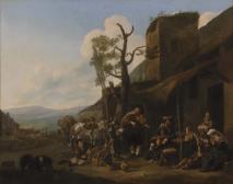 Südliche Landschaft mit Violinspieler vor einer Taverne
