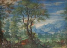 Hirschjagd in weitläufiger Landschaft