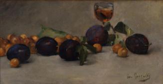 Stilleben mit Früchten, Nüssen und Glas
