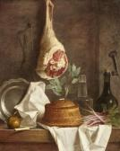 Stilleben mit Pastete und Lammkeule